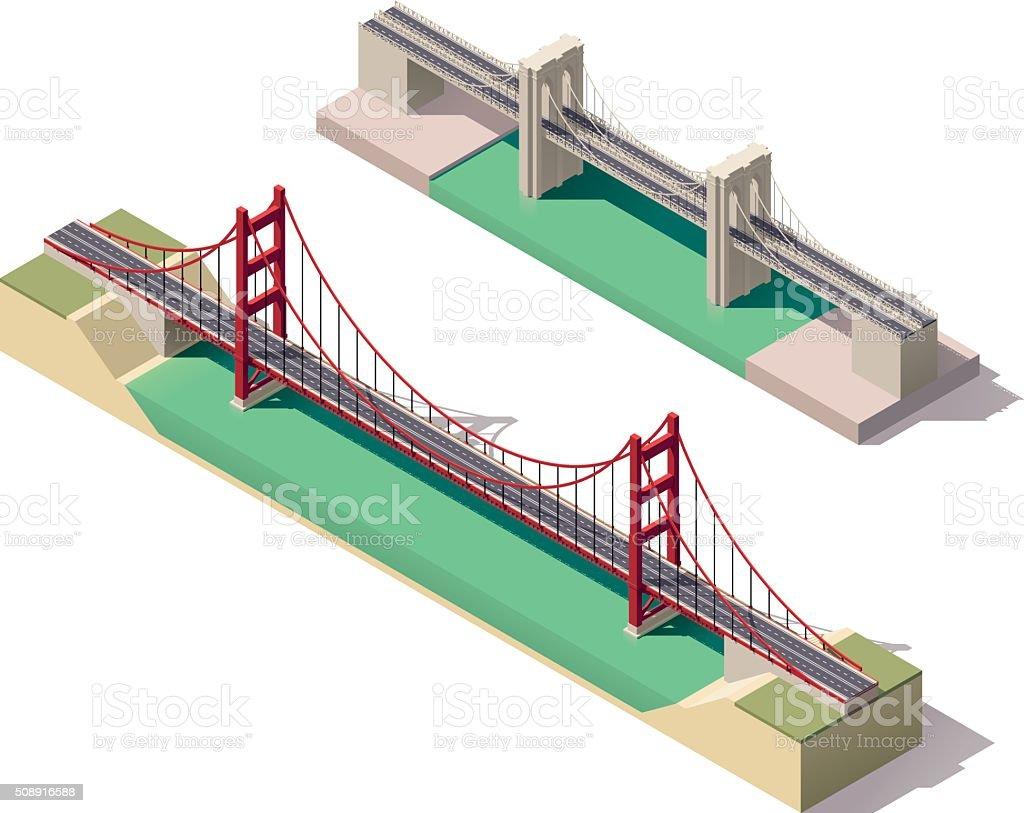 Vector isometric suspension bridge vector art illustration