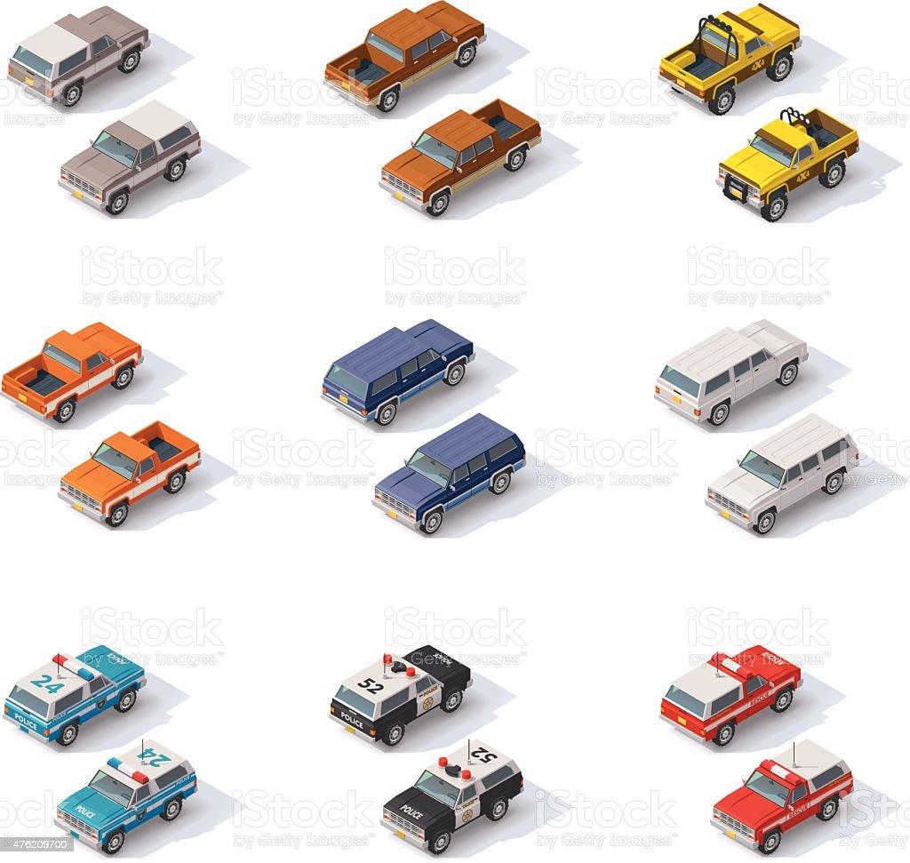 Vector isometric SUVs set vector art illustration