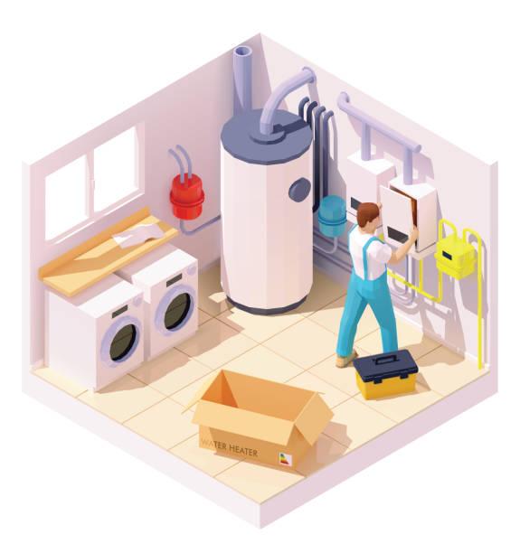 Vector isometric technician on water heater or boiler installation vector art illustration