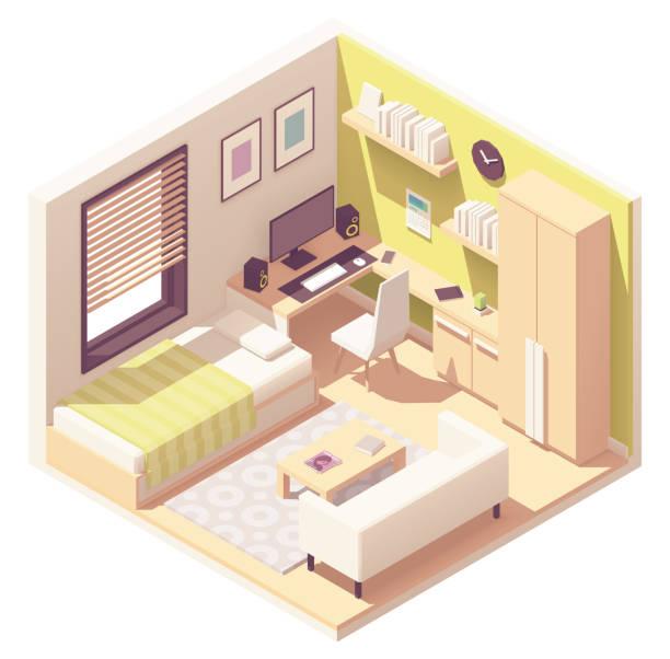 ilustrações de stock, clip art, desenhos animados e ícones de vector isometric teenager or student room - obras em casa janelas