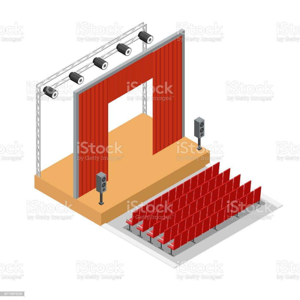 Vector isometric Theatre interior stage background. vector art illustration