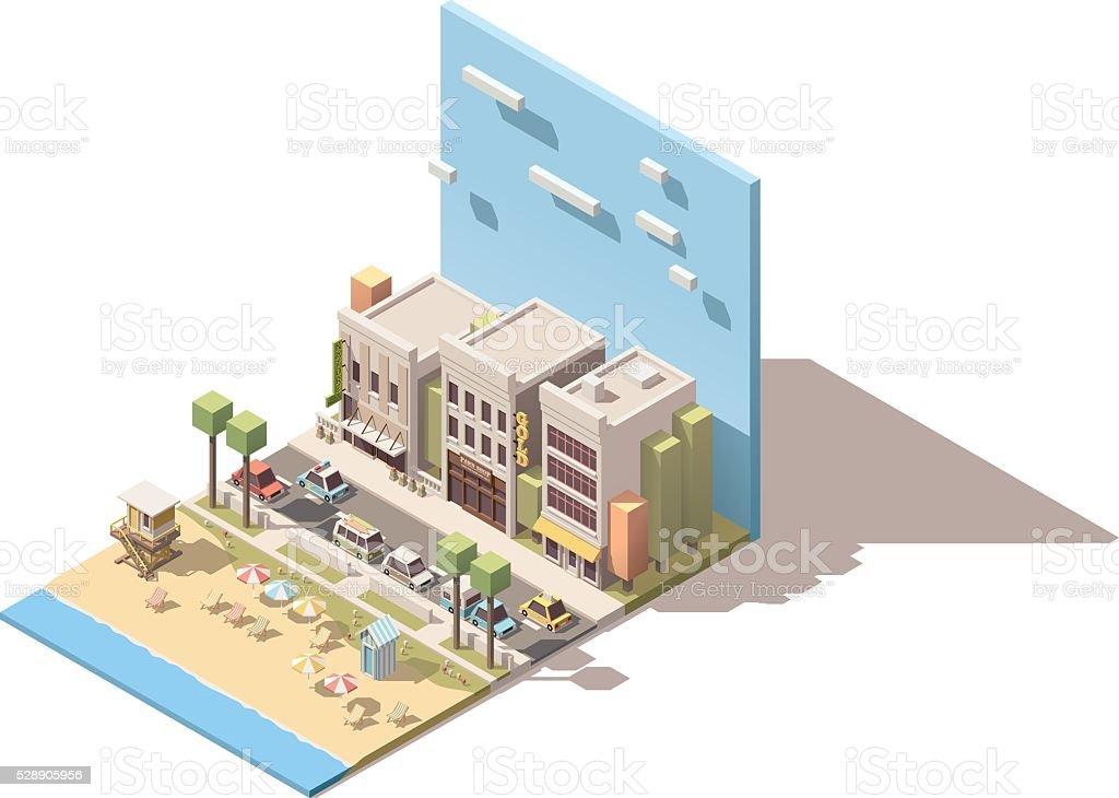 Vector isometric town beach vector art illustration
