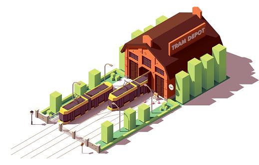 Vector isometric tram depot building