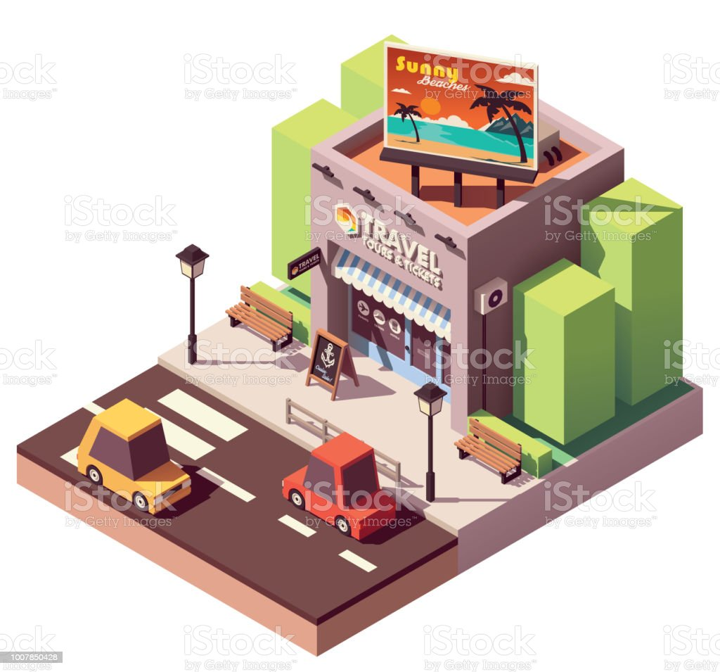 Vector isometric travel agency vector art illustration