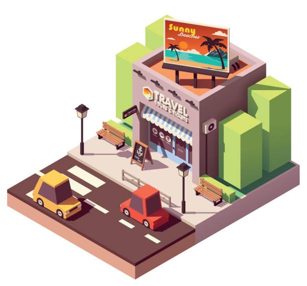 vector isometric travel agency - travel agent stock illustrations, clip art, cartoons, & icons