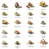Vector isometric travel and tourism icons representing different tourism related buildings and facilities – hotel, local landmarks, museum, travel and insurance agencies, currency exchange, shops, car rental, restaurants and other