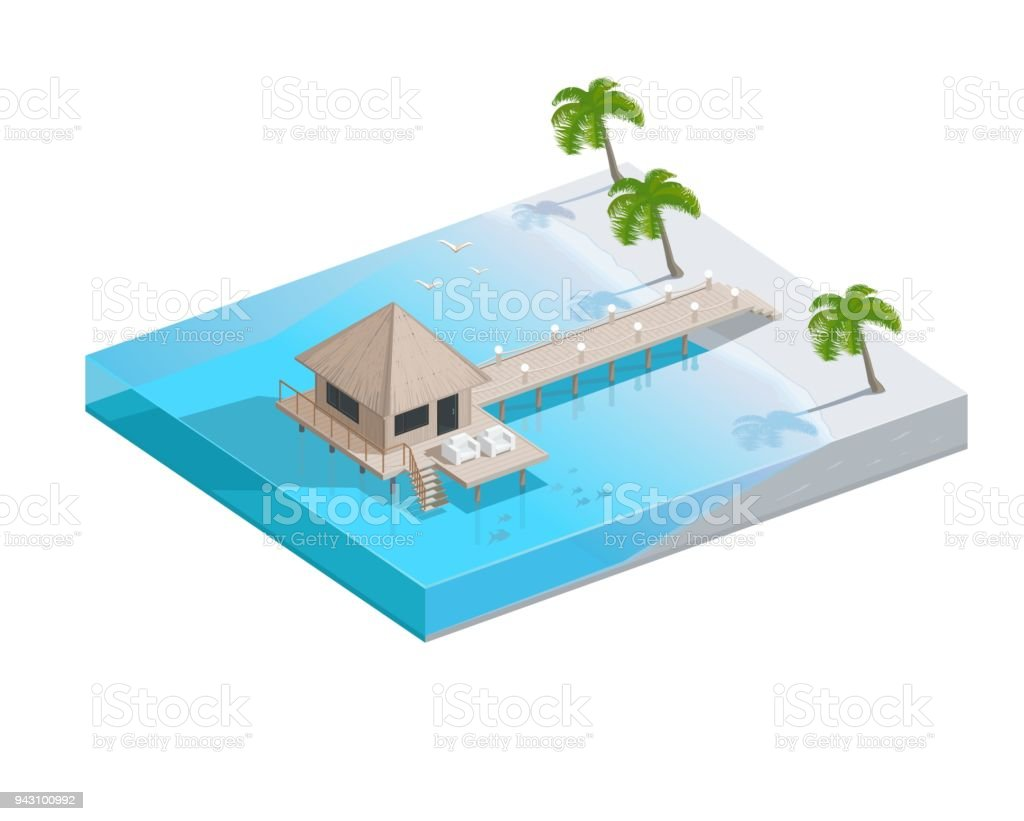 Vector isometric tropical resort icon with apartment buildings on the sea water