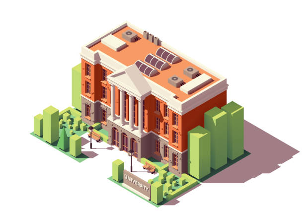 Vector isometric university building Vector isometric old university or college building campus stock illustrations