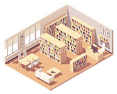 Vector isometric school, college or university library interior cross-section. Bookshelves with piles of books, sofa, desk and chairs for readers, librarian workplace