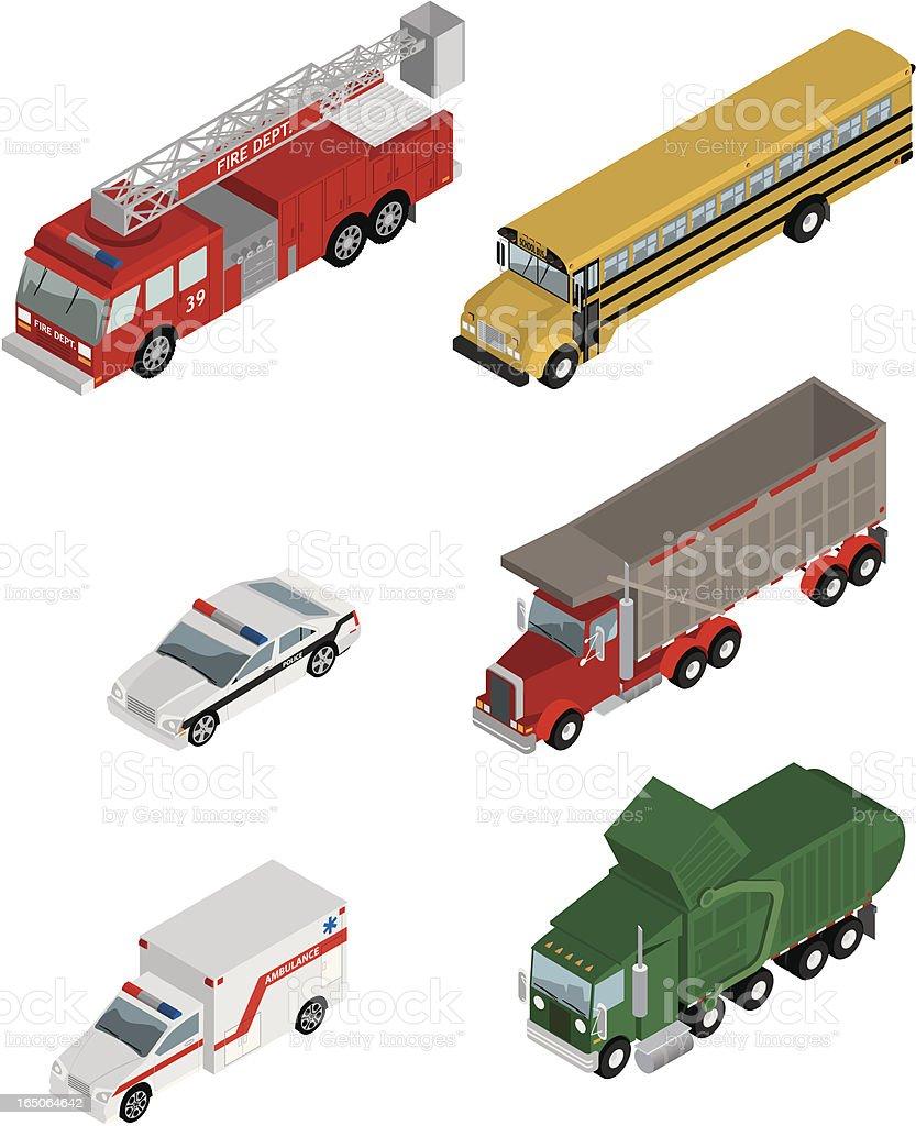 Vector Isometric Utility Vehicles vector art illustration