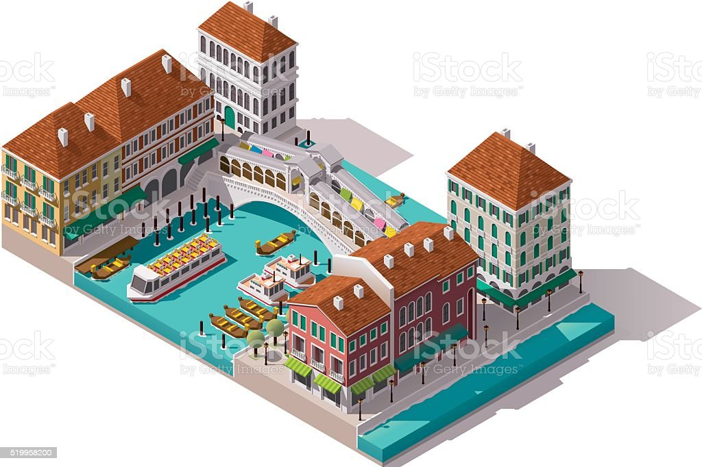 Vector isometric Venice street vector art illustration