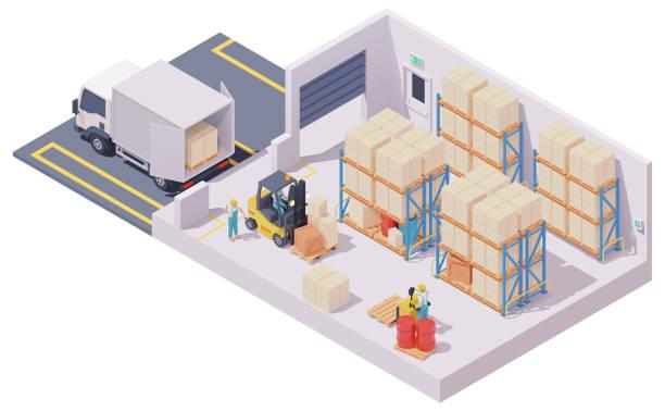 Vector isometric warehouse interior vector art illustration