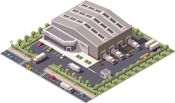 vector isometric warehouse - warehouse stock illustrations