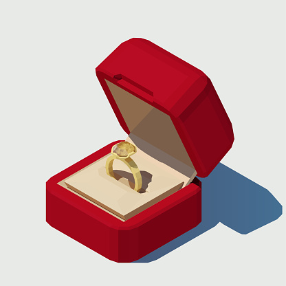 Vector isometric wedding ring in a box