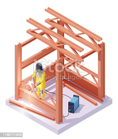 Vector isometric welder at welding work. Worker in protective welder helmet or mask and uniform welding metal structures at construction site.