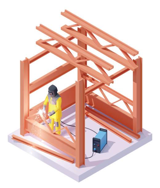 illustrazioni stock, clip art, cartoni animati e icone di tendenza di vector isometric welder at welding work - elettrodo