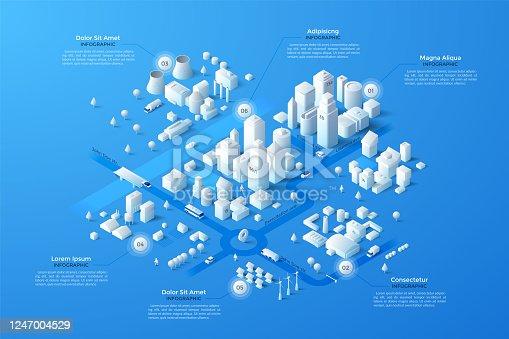 istock Vector isometric white city template 1247004529