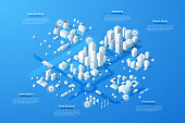Isometric city map with business, living and industrial districts, urban and suburban areas, paper white buildings and river. Real estate plan. Infographic design template. Modern vector illustration.