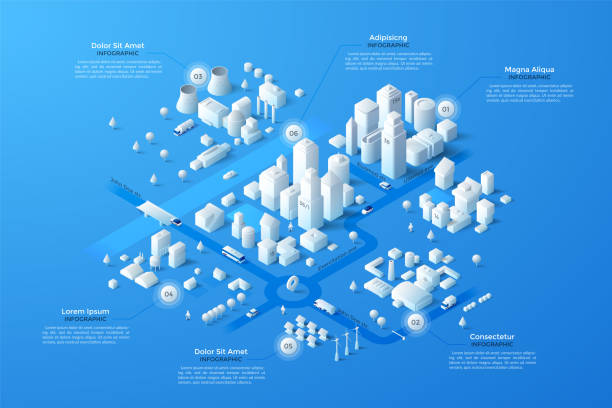 Vector isometric white city template Isometric city map with business, living and industrial districts, urban and suburban areas, paper white buildings and river. Real estate plan. Infographic design template. Modern vector illustration. isometric stock illustrations