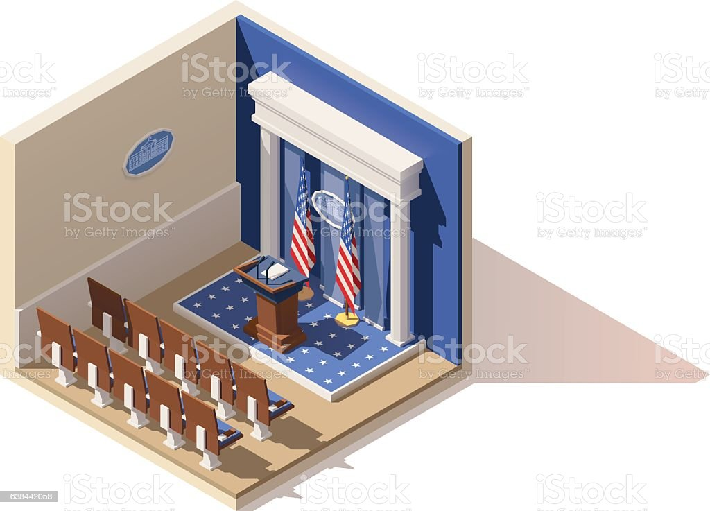 Vector isometric White House briefing room vector art illustration