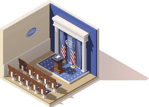 Vector isometric White House briefing room Vector isometric low poly White House press briefing room icon white house stock illustrations