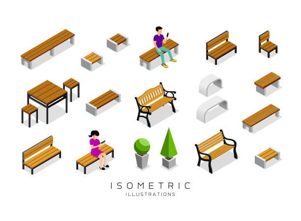 bildbanksillustrationer, clip art samt tecknat material och ikoner med vector isometrisk trä bänk samling med man och kvinna bakgrund - bench