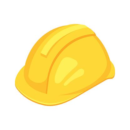Vector isometric yellow worker hat.