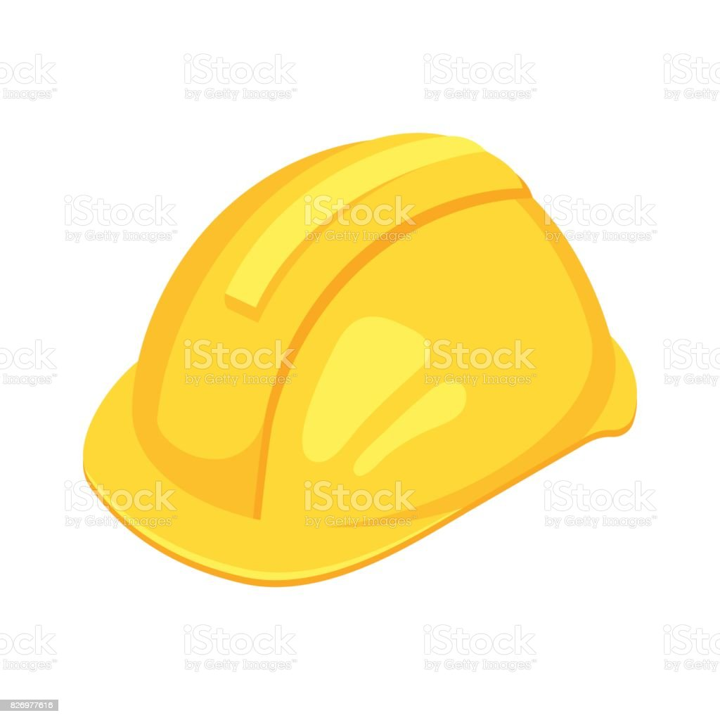 Vector isometric yellow worker hat. vector art illustration