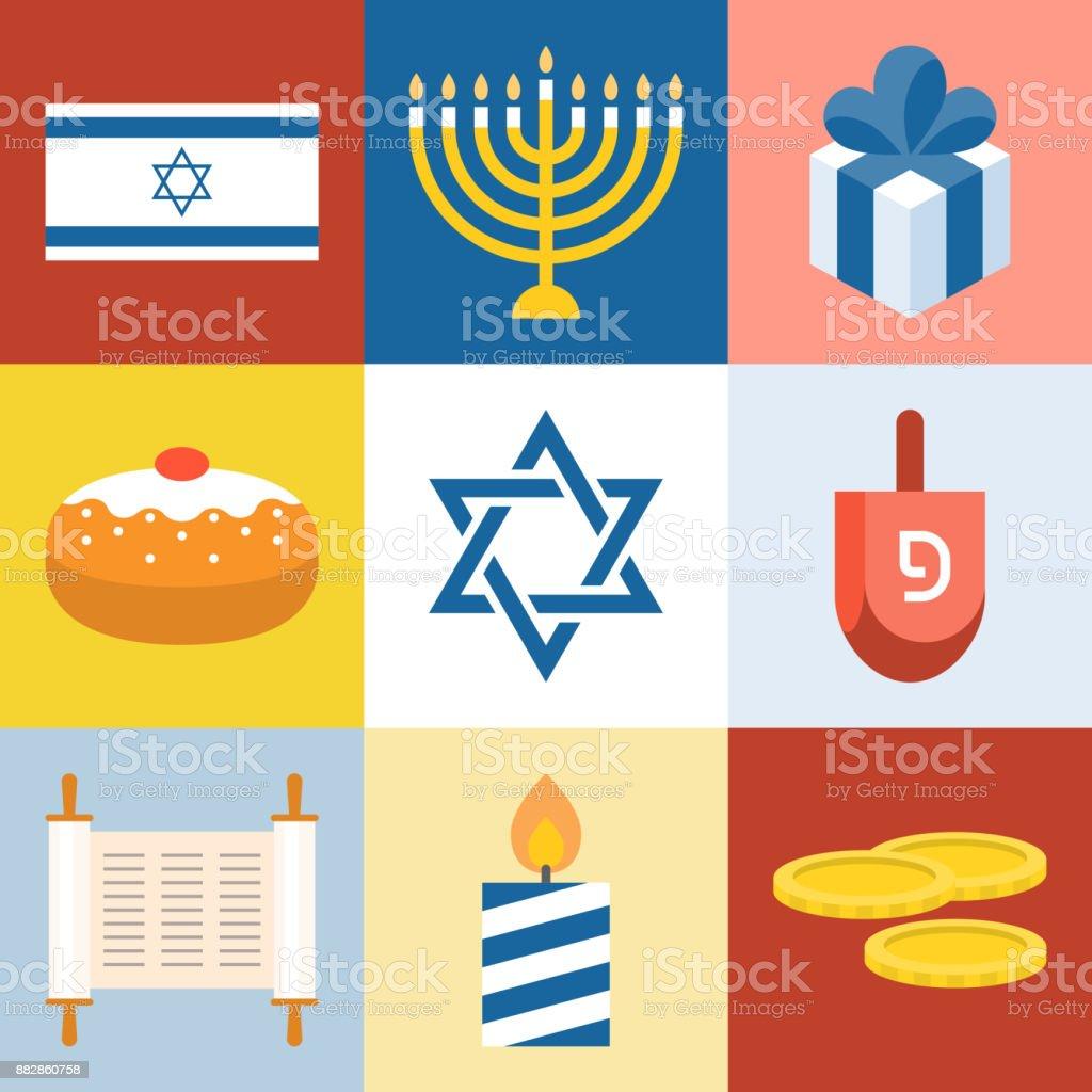 Vector Israël et Hanoukka festivals icônes définies, menorah, dreidel, torah, design plat - Illustration vectorielle