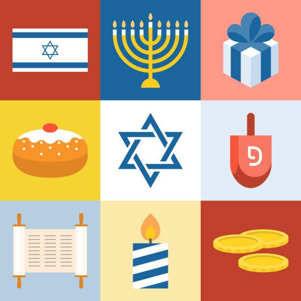 ilustraciones, imágenes clip art, dibujos animados e iconos de stock de israel y hanukkah set de iconos festival, menorah, dreidel, torá, diseño plano del vector - jánuca