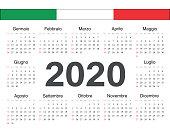 Vector Italian circle calendar 2020.