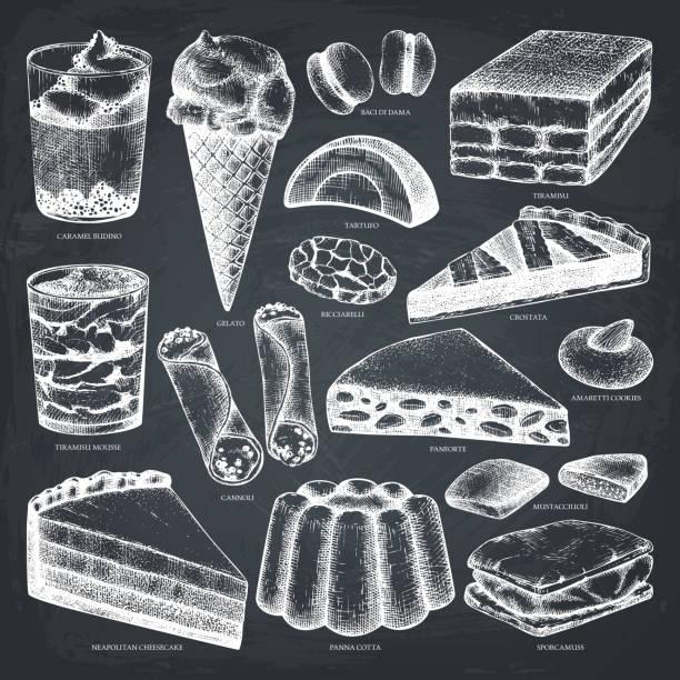 italienische desserts vektor festgelegt an tafel - tiramisu stock-grafiken, -clipart, -cartoons und -symbole