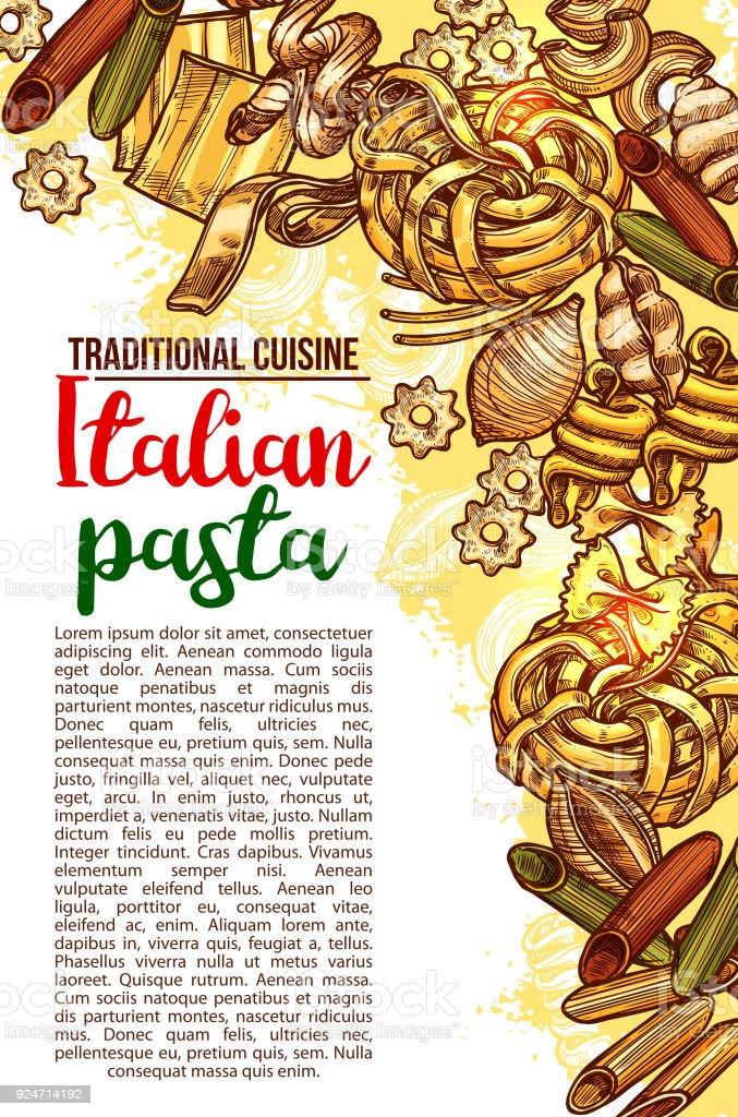 Vector Italian pasta restaurant menu sketch poster vector art illustration