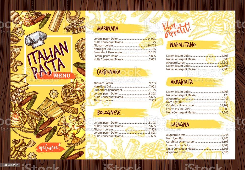 Vector Italian pasta restaurant menu template vector art illustration
