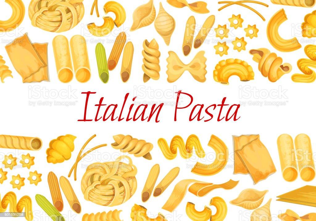 Vector Italian pasta restaurant poster vector art illustration