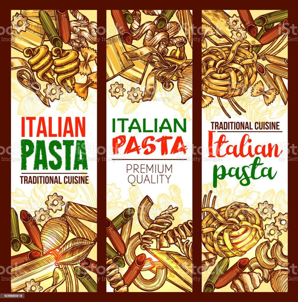 Vector Italian pasta restaurant sketch banners vector art illustration