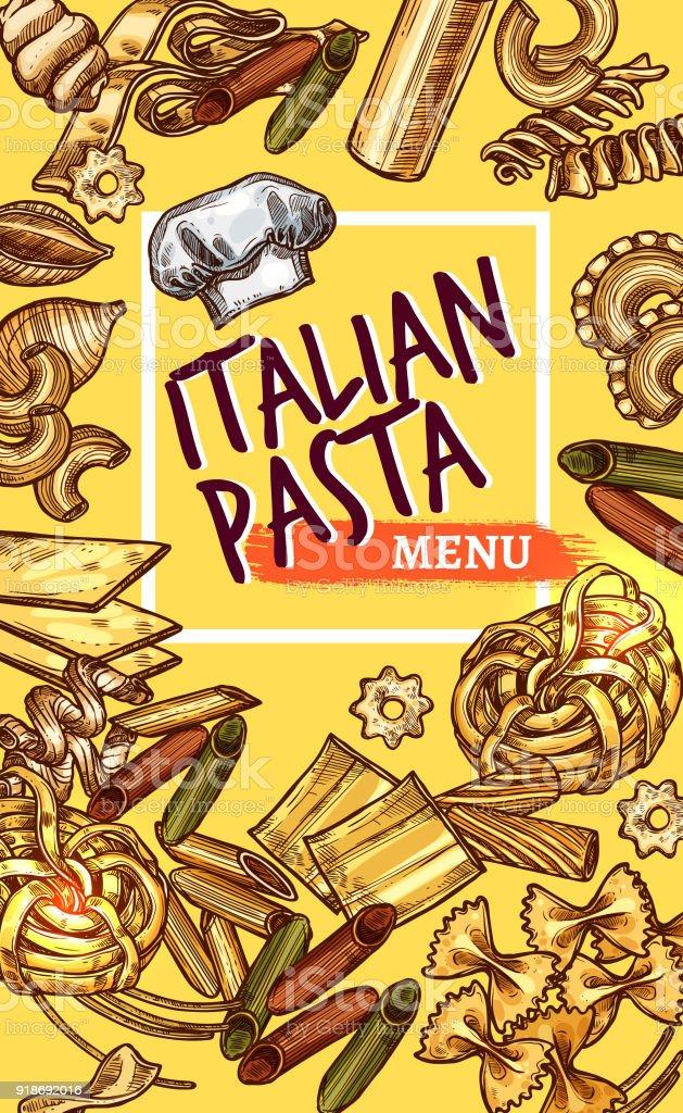Vector Italian pasta sketch poster restaurant menu vector art illustration