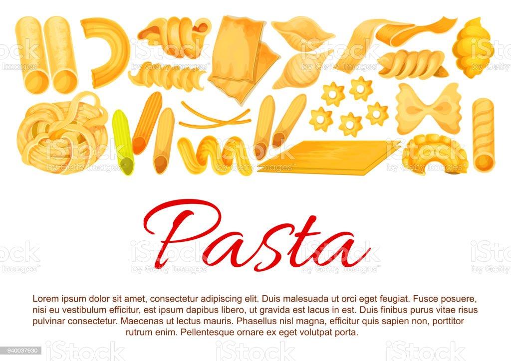 Vector Italian pasta sorts poster vector art illustration
