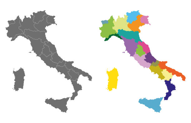 vector Italy high detailed map colored by regions vector Italy high detailed map colored by regions calabria stock illustrations