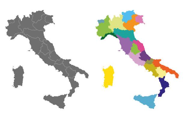 illustrazioni stock, clip art, cartoni animati e icone di tendenza di vector italy high detailed map colored by regions - calabria