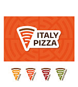 Pizzeria Point Symbol design template. Vector slice of pizza Symboltype illustration background. Icon emblem for italian fast food restaurant,cafe. Different colors for cheese, original, bacon, vegetarian