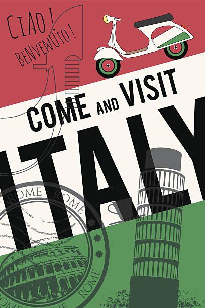 vektor-italien-einladung poster - italien stock-grafiken, -clipart, -cartoons und -symbole