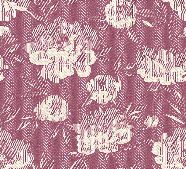 Vector Jacquard Peony Seamless two color pattern lace textile stock illustrations