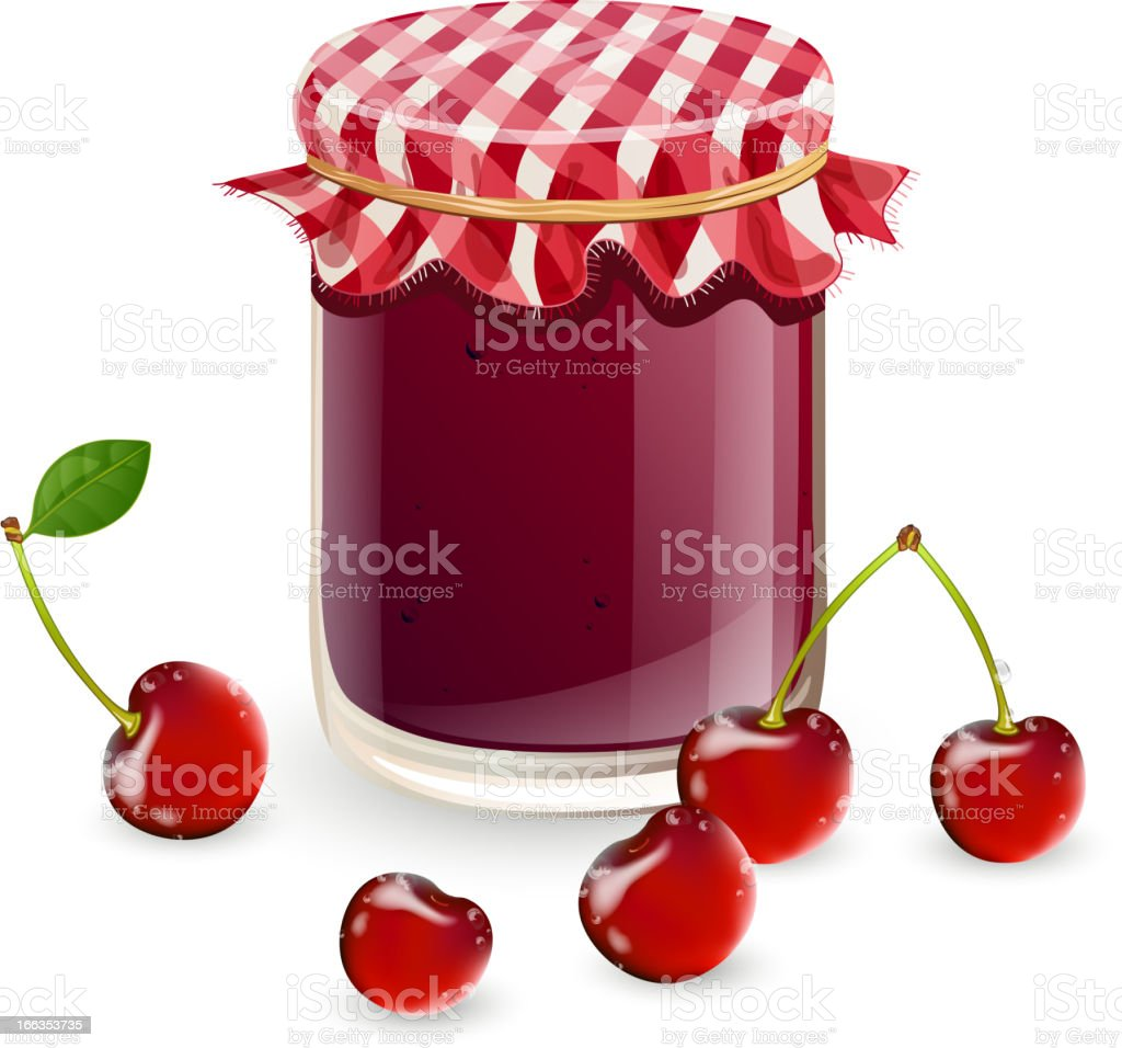 Vector jam and fresh cherries royalty-free stock vector art
