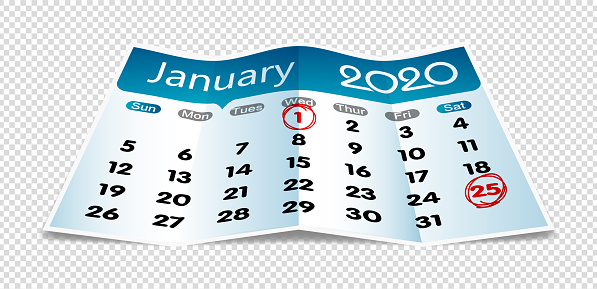 Vector January 2020 calendar on folded paper isolated