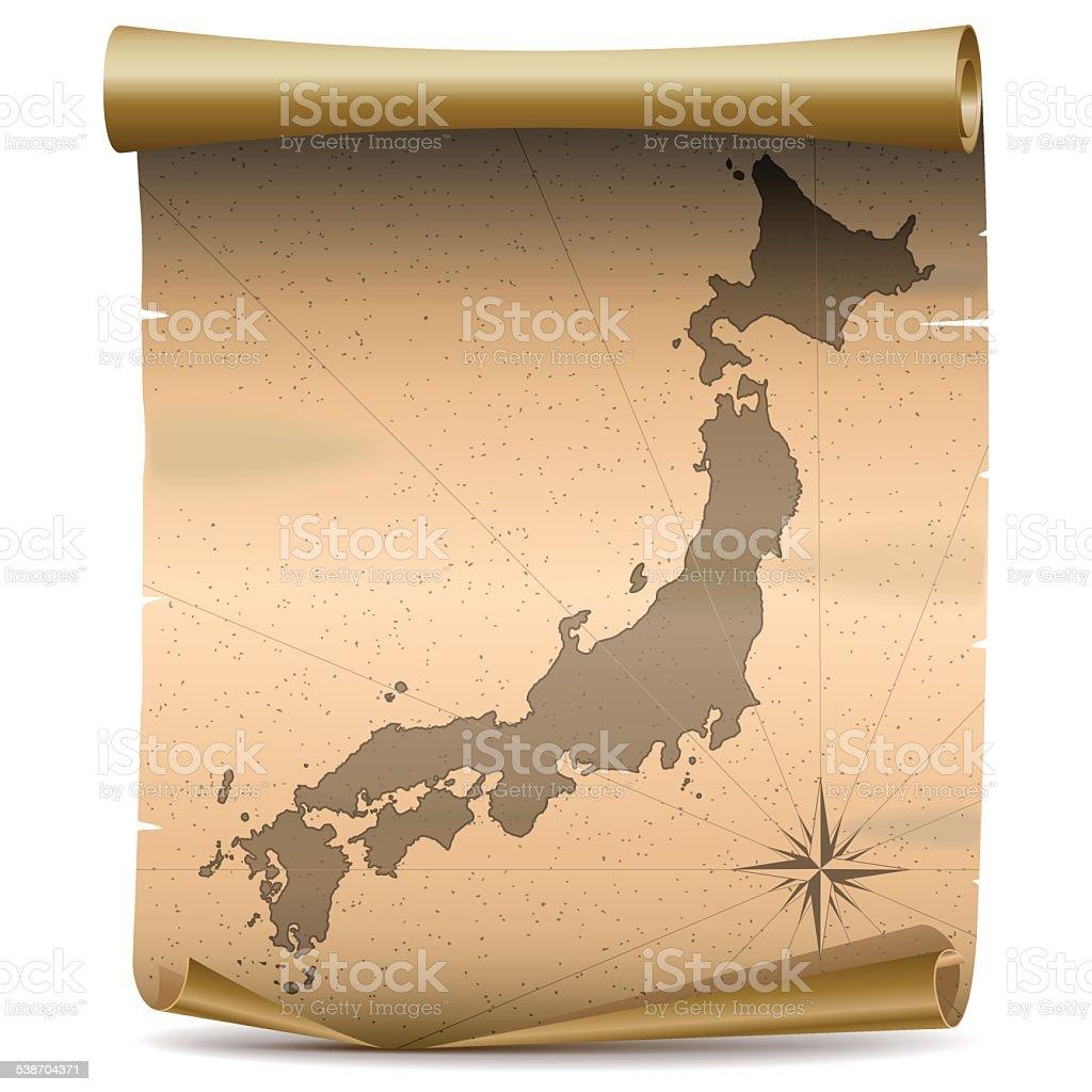 日本のビンテージベクトルマップ ベクターアートイラスト