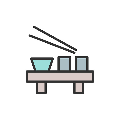 Vector japanese dishes flat color line icon.