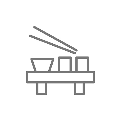 Vector japanese dishes line icon.
