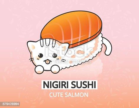 Vector japanese food illustration. Salmon kitty nigiri sushi cartoon character.