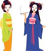 Vector kokeshi doll japanese geisha girl character. Colorful kimono pretty traditional woman beautiful makeup japanese geisha girl. Japanese geisha girl fashion culture beauty art.